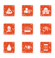 health care service icons set grunge style vector image