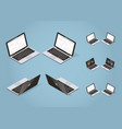 isometric modern laptop set vector image vector image