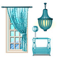 items vintage interior in turquoise color isolated vector image