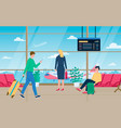 man women with luggage in airport hall carry vector image vector image