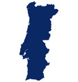 map portugal in blue colour vector image vector image