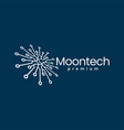 moon tech perspective electric circuit logo icon vector image