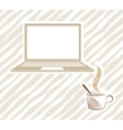 open laptop with coffee vector image vector image