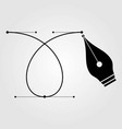 pen tool cursor and curve control points icon vector image
