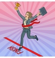 Pop Art Business Woman with Golden Winner Cup vector image