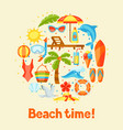 print with summer and beach objects vector image vector image
