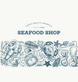 seafood and fish design template hand drawn food vector image vector image