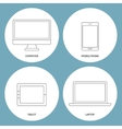 Set of electronic outline icons vector image vector image