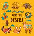 set with cartoon animals desert vector image