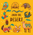 set with cartoon animals of desert vector image