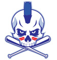 skull and crossed baseball bat vector image vector image