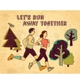 Sport run couple and sign color card vector image