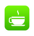 tea cup and saucer icon digital green vector image vector image