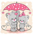 two cute kittens with umbrella under the rain vector image vector image
