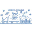 usa minnesota minneapolis winter city skyline vector image vector image