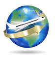 white aeroplane fly travel around world vector image vector image