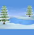winter landscape with frozen lake and fir trees vector image vector image
