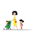 woman with her children walk outside pushing vector image