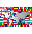 world map on different flags background vector image