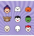 Cute Kawaii Halloween Icons Set Funny Monster vector image