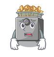 afraid cooking french fries in deep fryer cartoon vector image vector image