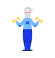 aged man raising hands with vector image