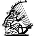 Ancient woman playing harp vector image vector image