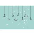 Black Fishing hooks icons set vector image
