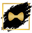 bow tie icon golden icon at black spot vector image vector image