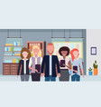 businesspeople standing together mix race business vector image vector image