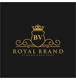 bv letter initial luxurious brand logo template vector image vector image