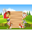 Cartoon happy farm animals holding wooden sign vector image vector image