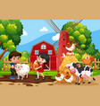 children in farm scene with animals vector image