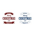 christmas blue text ribbon set merry vector image vector image