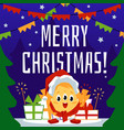 christmas greeting card with cute monster vector image vector image