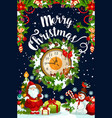 christmas wreath with new year gift and clock card vector image vector image