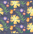 contrast floral summer pattern with orange flowers vector image vector image