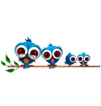 cute blue bird cartoon family vector image vector image