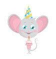 cute grey mouse in a fun conical hat with a cake vector image vector image