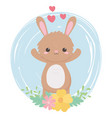 cute little rabbit flowers hearts lovely cartoon vector image vector image