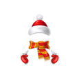 cute realistic snowman in mittens scarf hat vector image vector image