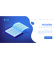 digital reading isometric 3d landing page vector image vector image