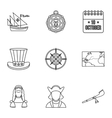 Discovery of America icons set outline style vector image vector image