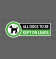 dogs allowed only on a lead modern sticker for vector image