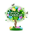 easter tree with colorful eggs vector image
