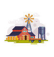 farm scene with red barn windmill water pump and vector image vector image