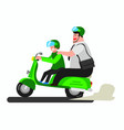 fat man on motorcycle go to work with taxi online vector image vector image