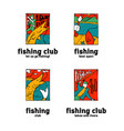 fishing club logo set vector image