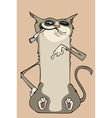 Funny cartoon cat sitting with cigarette in mouth vector image