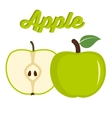 Green apple - whole and cut fruit vector image vector image